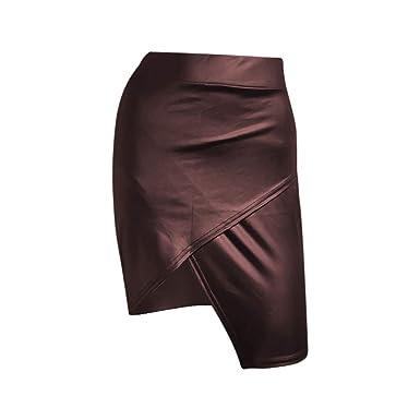 Shenye Faldas de Cuero para Mujer, Falda Corta Sexy, de Cintura ...