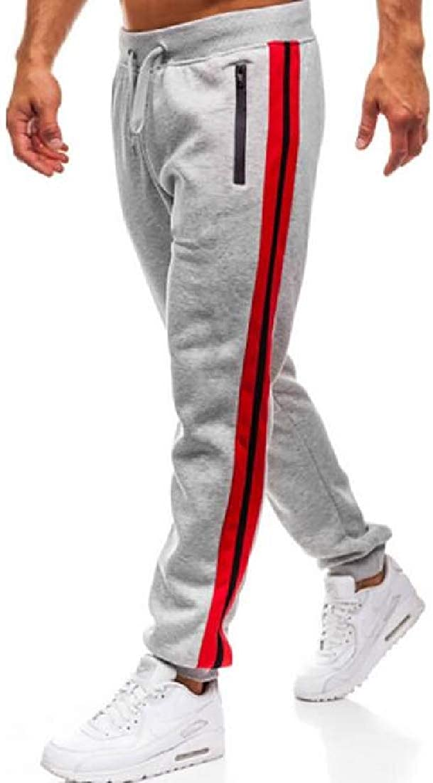 Fubotevic Mens Casual Sport Drawstring Striped Side Sweatpants Jogger Pants Trousers