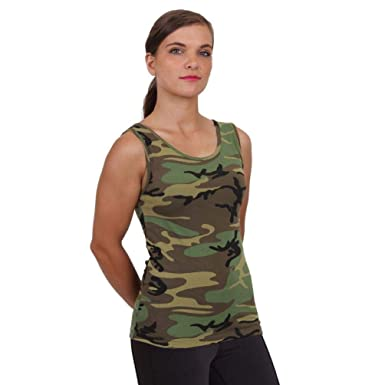 c61516e67f020 Image Unavailable. Image not available for. Color: Womens Ladies Woodland  Hunting Army Camo Stretch Form Snug Fit Tank Top Shirt