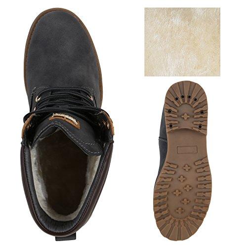 Stiefelparadies Damen Stiefeletten Worker Boots mit Blockabsatz Metallic Profilsohle Flandell Grau