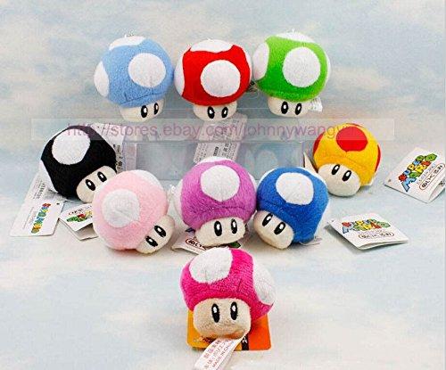 Lot 9Pcs Super Mario Bros Mushroom Key Chain Soft Plush Toy 6CM Mini Charm Set