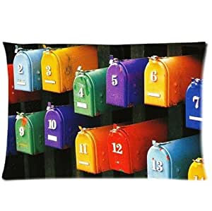 Beautiful Colorful Mailbox Pattern Design Mailbox Pillowcase,Twin Sides Pillowcase Pillow Cover 20x30 inches by icecream design