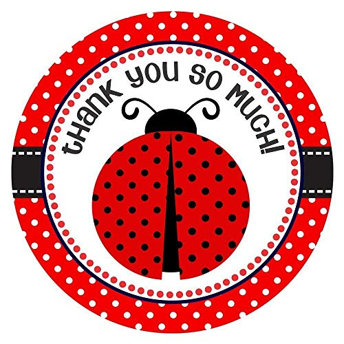 - Ladybug Thank You Sticker Labels for Girl Birthday or Baby Shower Party Favor Labels - Set of 30