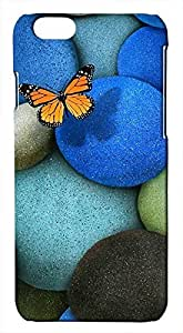 3D Lonely Butterfly Blue Rocks Hard For Case Iphone 5/5S Cover