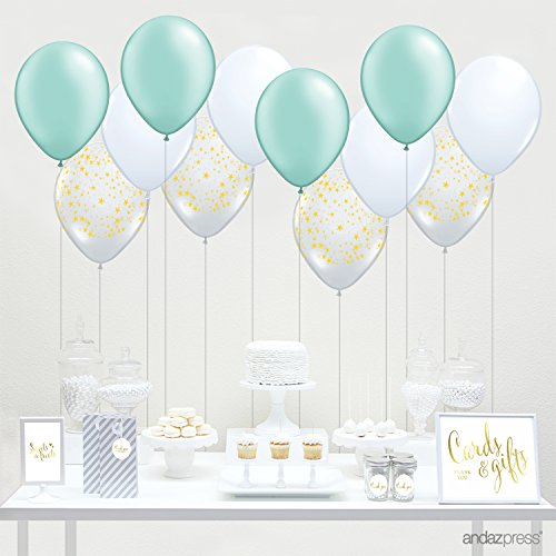 Andaz Press 11-inch Latex Balloon Trio Party Kit with Gold Cards & Gifts Sign, Mint Green, White and Clear with Gold Stars, 12-pk, Twinkle Twinkle Little Star Baby Shower