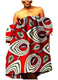 NestYu Women Back Cotton Dashiki Plus Size African Wax Fabric Dresses Red L