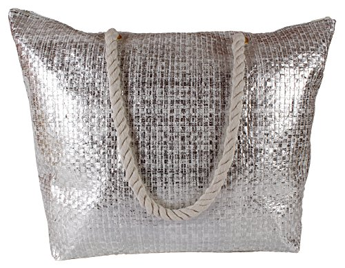 Silver Metallic Tote Lorenz Holiday colours Woven Silver Large 4 Bag Beach in Effect fUUwq7H