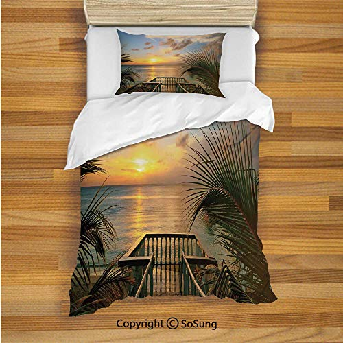 Farm House Decor Kids Duvet Cover Set Twin Size, Mediterranean Horizon Sea from Wooden Terrace Balcony Fences Holiday Life Photo 2 Piece Bedding Set with 1 Pillow Sham,Multi