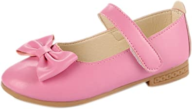 GESELLIE Girls Slip-On Mary Jane Leather Ballet Bow Flat Shoes Toddler//Little Kid