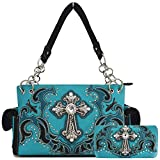 Western Style Rhinestone Cross Stud Concealed Carry Purse Laser Cut Handbag Women Shoulder Bag Wallet Set (Turquoise Set)