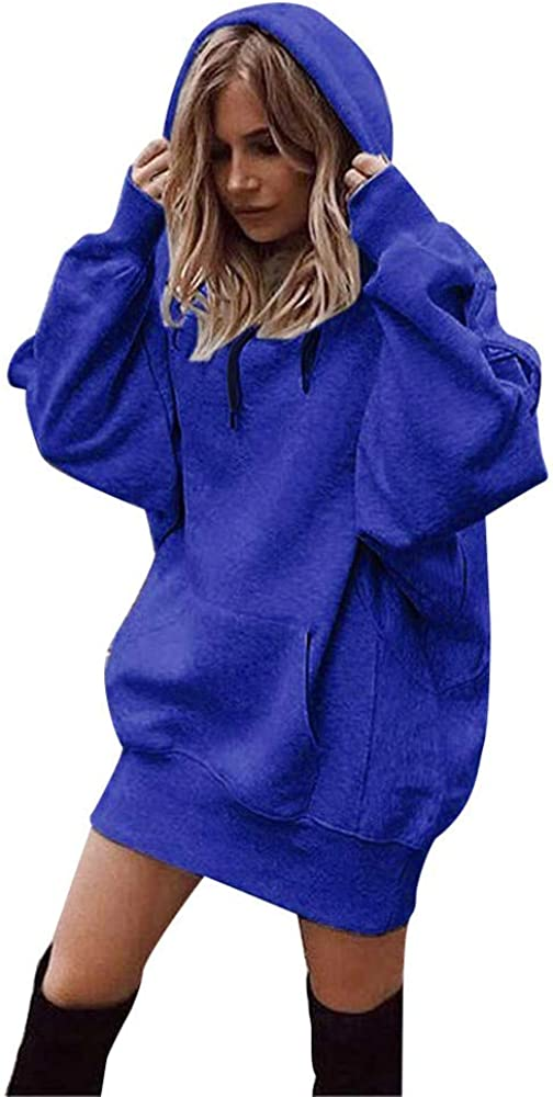 Sinzelimin Women Fashion Solid Color Clothes Loose Hoodies Drawstring Pullover Coat Sweatshirt with Pocket