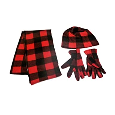 35b89a524c8 Image Unavailable. Image not available for. Color  Boys Red   Black Checks  Fleece Scarf Gloves Beanie Hat Set