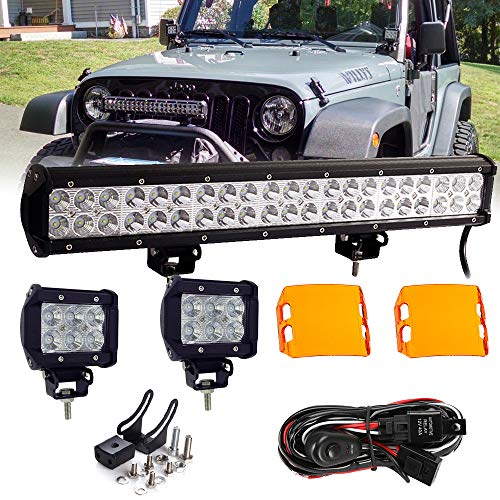Lamp 126 - AMUNIESUN 20Inch Led Light Bar 126W Combo LED Off Road Lamps+Switch Wiring Harness-3 Lead+4In Pod Cube Flood Fog LED Work Lights+Amber Cover For Jeep Ford Toyota GMC Chevy Golf Cart Dodge ATV UTV Boat