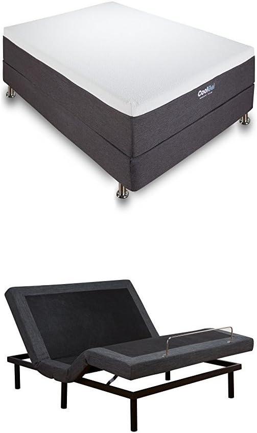 Classic Brands Ajustable Comfort Bed Base, Queen + Classic Brands 12-Inch Cool Gel Memory Foam Mattress