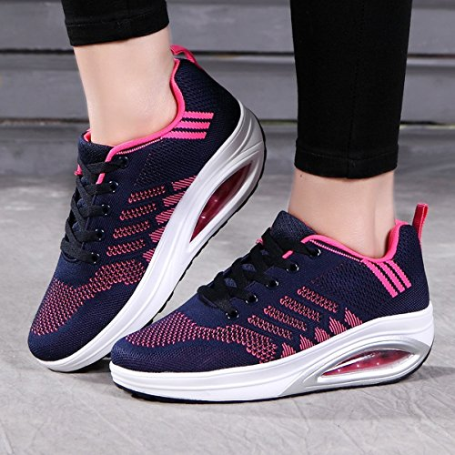 Lightweight Women's Tennis Fitness Air XMeden Sneakers Walking Casual Blue Shoes Platform Comfortable wBxq4xdOX