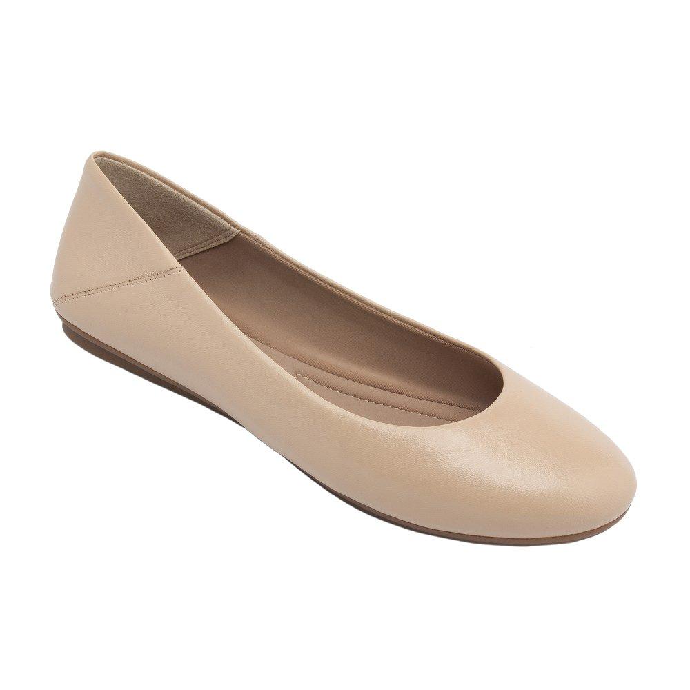 PIC/PAY Kay - Women's Leather Ballet Flat  - Classic Round Toe Comfortable Slip-on B0752ZVJ63 9.5 B(M) US|Blush Leather