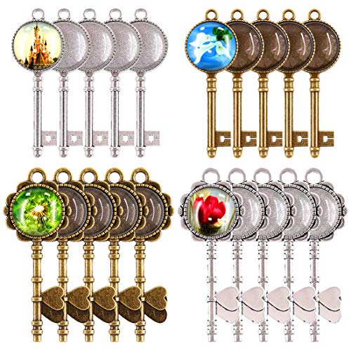 Glarks 48-Pieces Vintage Pendant Trays Set, 24pcs Skeleton Keys Pendant Trays with 24pcs Bright Glass Dome Tiles Cabochon for DIY Wedding Party Gifts Jewelry Necklace Pendants Decoration