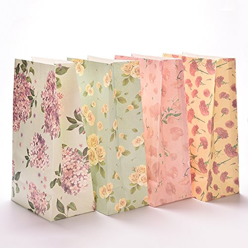 140d052f61c3 7thLake 3PCS Flowers Floral Small Paper Gift Bag Cookies Bag With Sticker,  Color Random