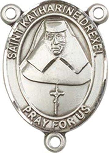 Sterling Silver Saint Katharine Drexel Rosary Centerpiece Medal, 3/4 - Pendant Medal Drexel Katharine
