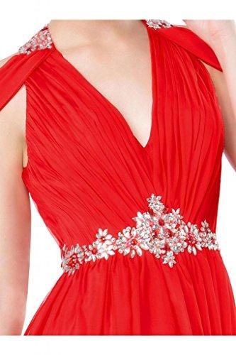 Elegante V-cuello de la novia de la Toscana piedras de Gasa de noche vestidos de bola vestidos de fiesta duro de larga duración Rojo