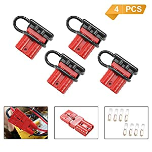 BUNKER INDUST Battery Quick Connect Disconnect Wire Harness Plug Kit 50A 6-10 Gauge Battery Cable Quick Connect Disconnect Plug for Winch Auto Car Trailer Driver Electrical Devices,4 Pcs,Red