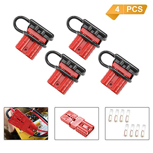 BUNKER INDUST 50A 6-10 Gauge Battery Quick Connect Disconnect Wire Harness Plug Kit 4 Pcs Battery Cable Quick Connect Disconnect Plug for Winch Auto Car Trailer Driver Electrical - 7 8 Gauge