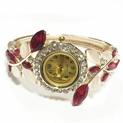 GBSELL Luxury Women Rhinestone Bangle Crystal Flower Bracelet Quartz Wrist Watch (Red) (Flower Crystal Bangle)