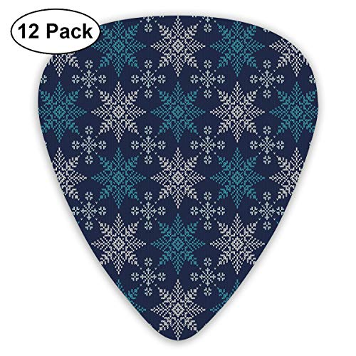 Guitar Picks - Abstract Art Colorful Designs,Winter Holiday Theme Eight Pointed Star Christmas Pattern,Unique Guitar Gift,For Bass Electric & Acoustic Guitars-12 Pack]()