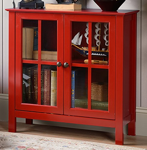 American Furniture Classics OS Home and Office Glass Door Accent and Display Cabinet, Red Paint