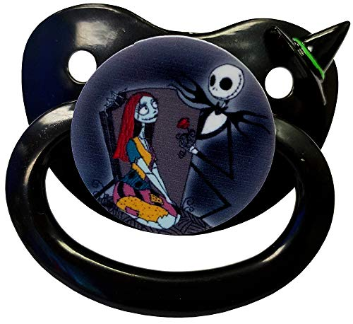 (Envy Body Shop Adult Sized Cute Gem Halloween Pacifier Dummy for Adult Halloween Baby ABDL/DDLG/Little Space BigShield (Black, Nightmare Be)