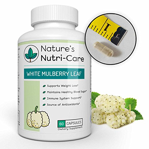 Cheap Nature's Nutri-Care Pure White Mulberry Leaf Extract – 500 mg – 60 Capsules – Weight Loss and Immune System Supplement – Made in USA, 60