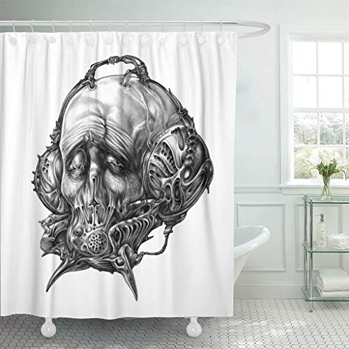 (Emvency Fabric Shower Curtain with Hooks Fantastic Character in Helmet Gas Mask Cyberpunk Steampunk Space Pilot Sci Fi Science 72