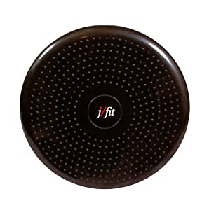 j/fit Inflatable Balance & Stability Disc: Large Yoga Wobble Cushion Trainer with Pump - Core Fitness & Workout Equipment Discs for Home - Office Chair, Ankle Strength Training & Dog or Pet Activity: Black, 13-Inch