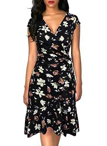 Berydress Women's Classic 3/4 Sleeve V-Neck Knee-Length Sheath Ruffle Cocktail Work Black Faux Wrap Dress (S, 6092-Black Floral)