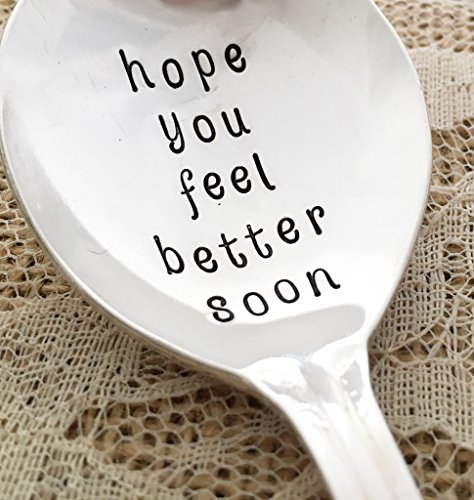 hope you feel better soon: soup spoon. hand stamped spoon, vintage by Lorelei Vella, small