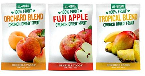 Sensible Foods All-Natural Gluten Free Vegan Non-GMO 100% Fruit Crunch Dried Snacks Large Bag 3 Flavor Variety Bundle: (1) Orchard Blend, (1) Fuji Apple, and (1) Tropical Blend, 1.3 Oz. -