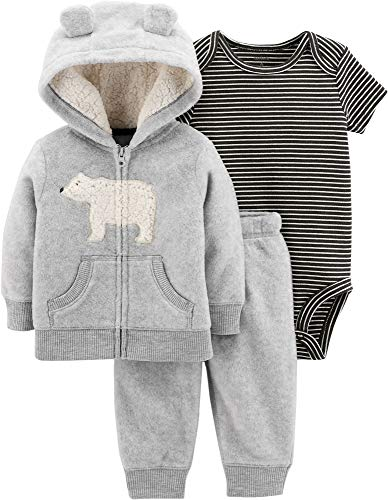 (Carter's Baby Boys` 3-Piece Little Jacket Set, Heather Polar Bear, 12 Months)
