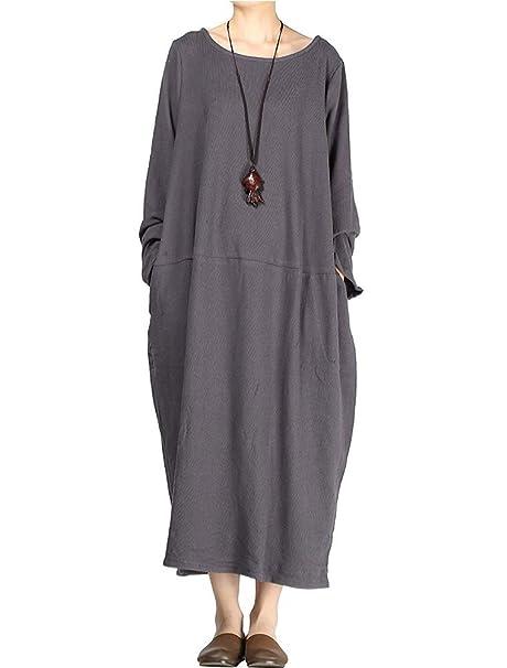 151bc545953f2 Vogstyle Femmes Nouveau Automne Col Rond Grand Hem Pull Robe  Amazon.fr   Vêtements et accessoires