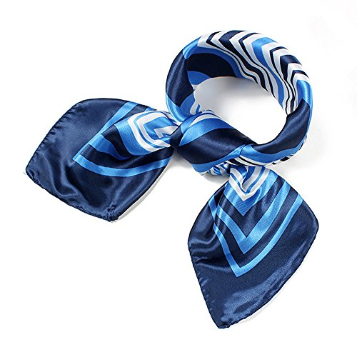 QBSM Womens Blue Striped Square Satin Silk Formal Neck Square Head Hair -