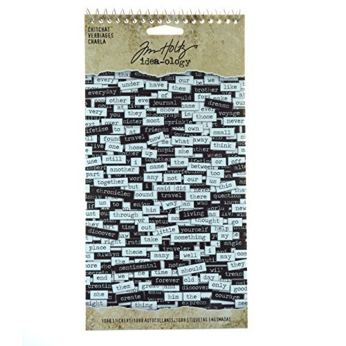 Chitchat Word Stickers by Tim Holtz Idea-ology, Black and White Matte Cardstock, 1088 Stickers, TH92998 Advantus Corp.