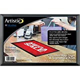 Artistic 25201 11'' x 17'' Retail Counter Mat / Signature Pad - Slide-In Advertisement Display with Exclusive Microban Antimicrobial Protection, Black/Clear