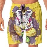 Haixia Men Casual Boardshorts Elephant Elephant Lord in Grunge Paint Style Wit
