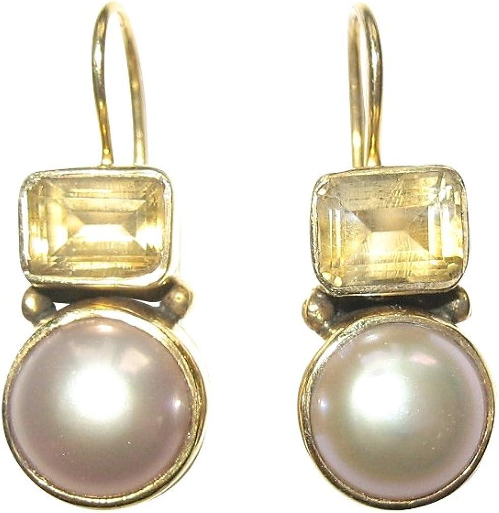 aparte dorados pendientes con un leuchtenden citrino y una preciosa perla de agua dulce
