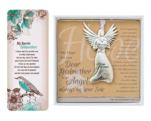 Godmother Gift Set - Always an Angel by Your Side Charm Ornament and Bookmark Card