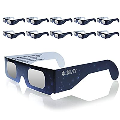 Eclipse Glasses,Monokuchi [10-Pack] Solar Eclipse Glasses CE and ISO Certified Safe Solar Eclipse Viewing Glasses for Direct Sun Viewing-Eye Protection
