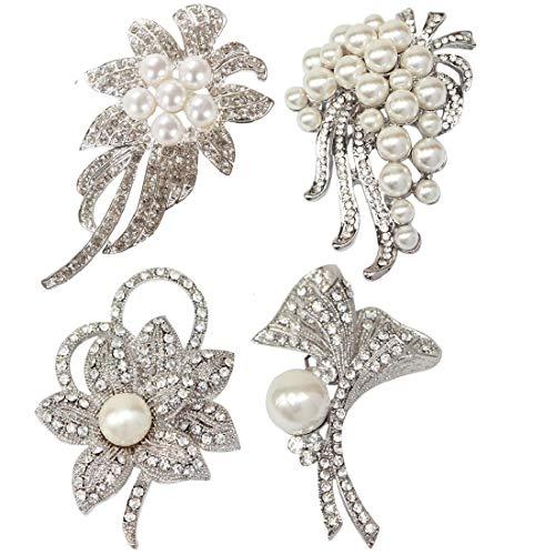 - kilofly 4pc Faux Pearl Rhinestone Crystal Floral Pendant Brooch Pin + Gift Bag