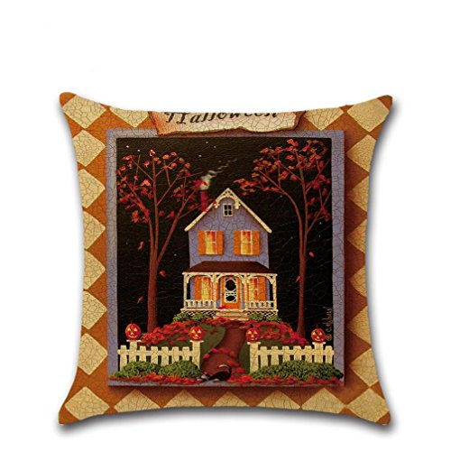 Muranba Happy Halloween Pillow Cases Linen Sofa Cushion Cover Home Decor (A, (Halloween Face Painting Witch Ideas)