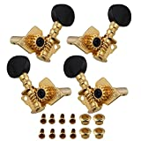 BQLZR Gold-plated 2R2L Tuning Peg Machine Head TUNERS for UKULELE Concave Button