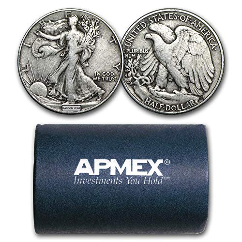 1916-1947 90% Silver Walking Liberty Halves $10 20-Coin Roll Avg Circ Silver Very Good