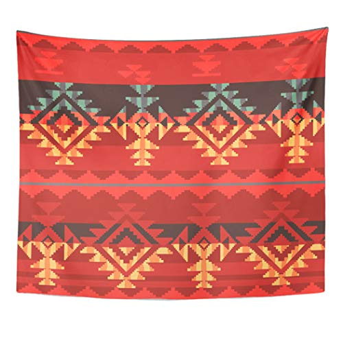 Emvency Tapestry Wall Hanging Navajo Tribal Pattern Ikat Border Abstract Native Mexican American Traditional 50